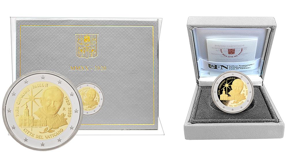 MONETA COMMEMORATIVA 2 EURO Versione FS e FDC - Centenario della nascita di San Giovanni II