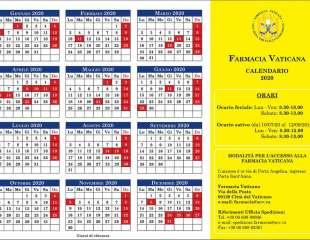 Calendario aperture 2020